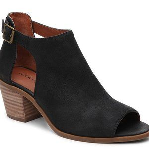 Lucky Brand Barimo Leather Open Toe Black Booties
